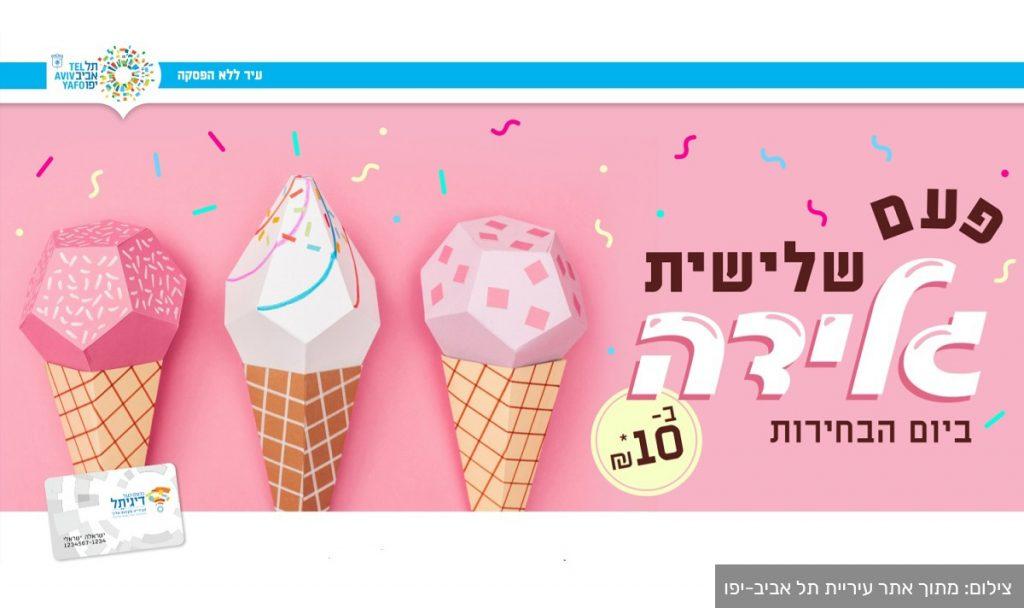 """גלידה ב-10 ש""""ח ביום הבחירות בתל אביב. צילום: עיריית תל אביב-יפו"""