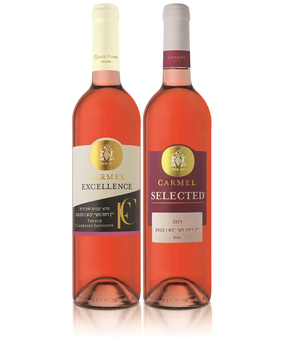 בקבוקי יין רוזה של יקבי כרמל Selected ו-Excellence. צילום: אייל קרן