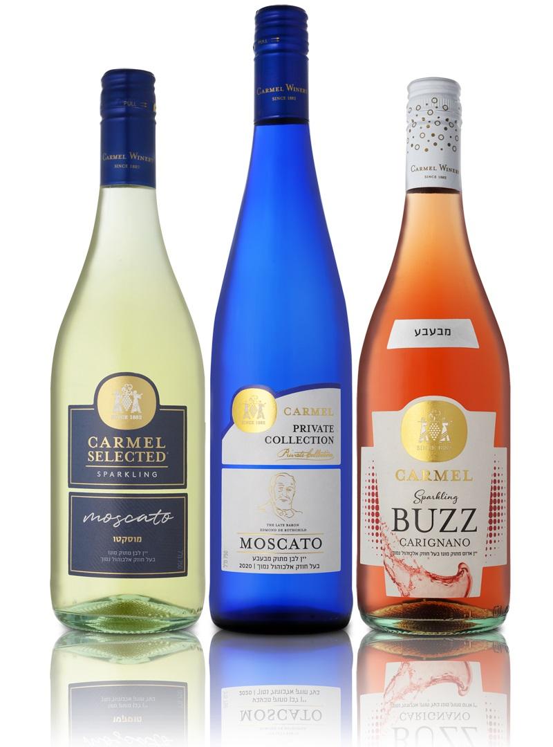 מוסקטו וקריניאנו - יינות מבעבעים של יקבי כרמל. צילום: אייל קרן