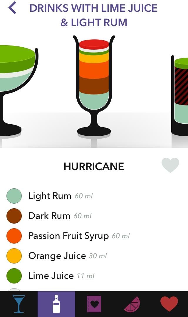 מתכון לקוקטייל הוריקן באפליקציית Lush Cocktails