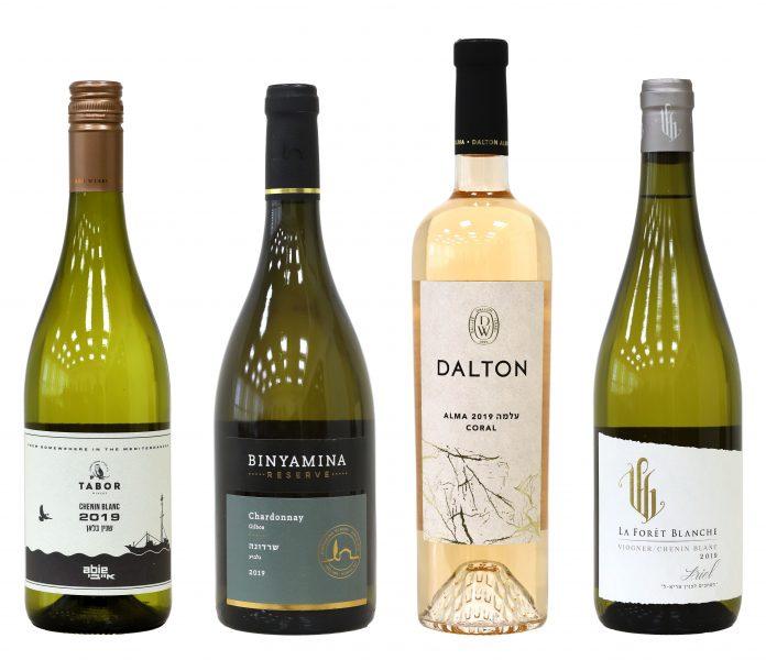 בקבוקי יין לבן זוכים בתחרות אשכול הזהב 2020. צילום: Sommelier