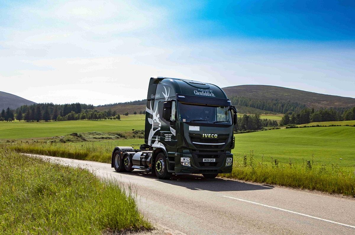 משאית של גלנפידיך שנוסעת על דלק ביוגז אקולוגי. צילום: William Grant & Sons