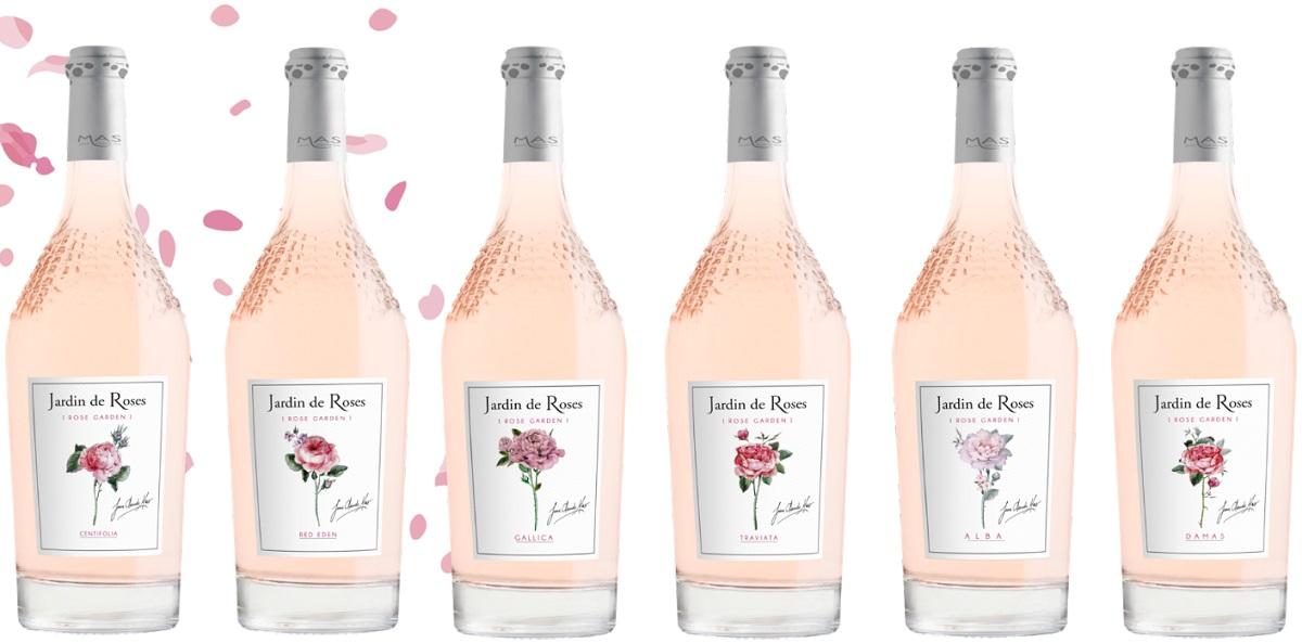 יין רוזה ז'רדין דה רוז של יקב פול מאס בצרפת ב-6 תוויות שונות של ורדים