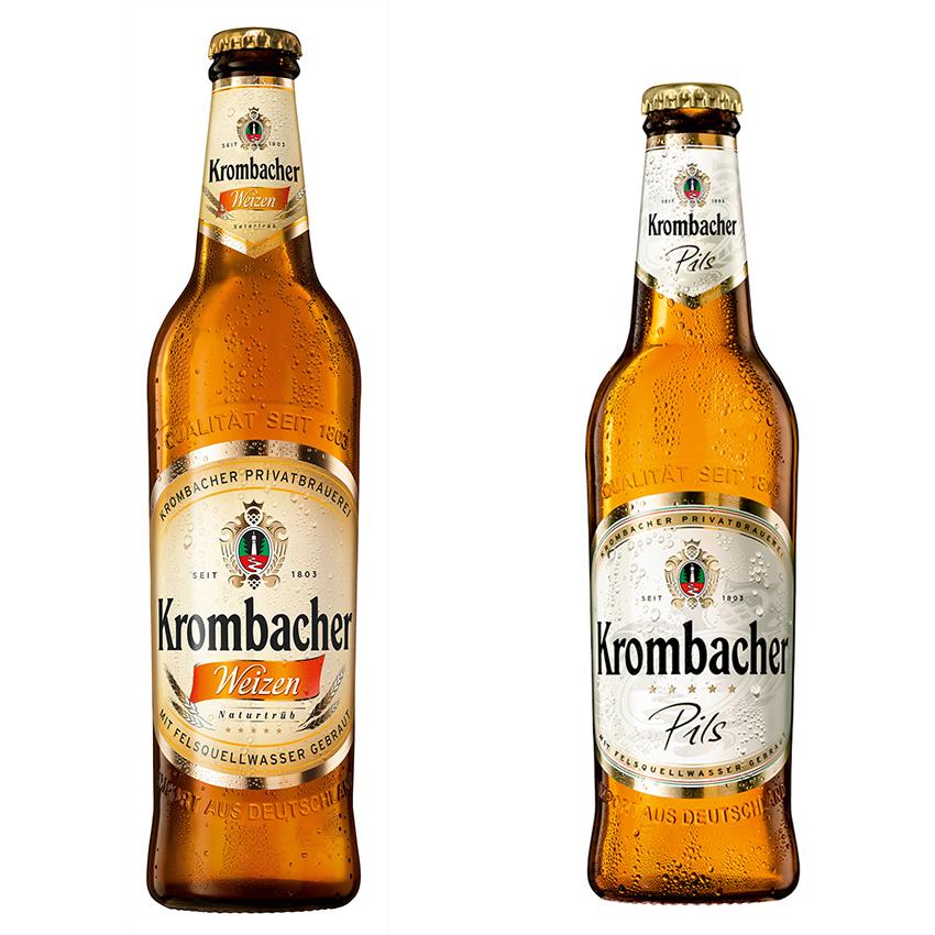בקבוק קרומבאכר פילז ובקבוק קרומבאכר חיטה. צילום: איל קרן