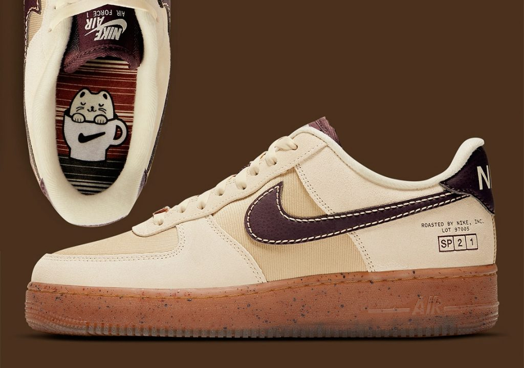 נעלי נייק אייר פורס 1 נמוכות בצבעי קפה. Nike