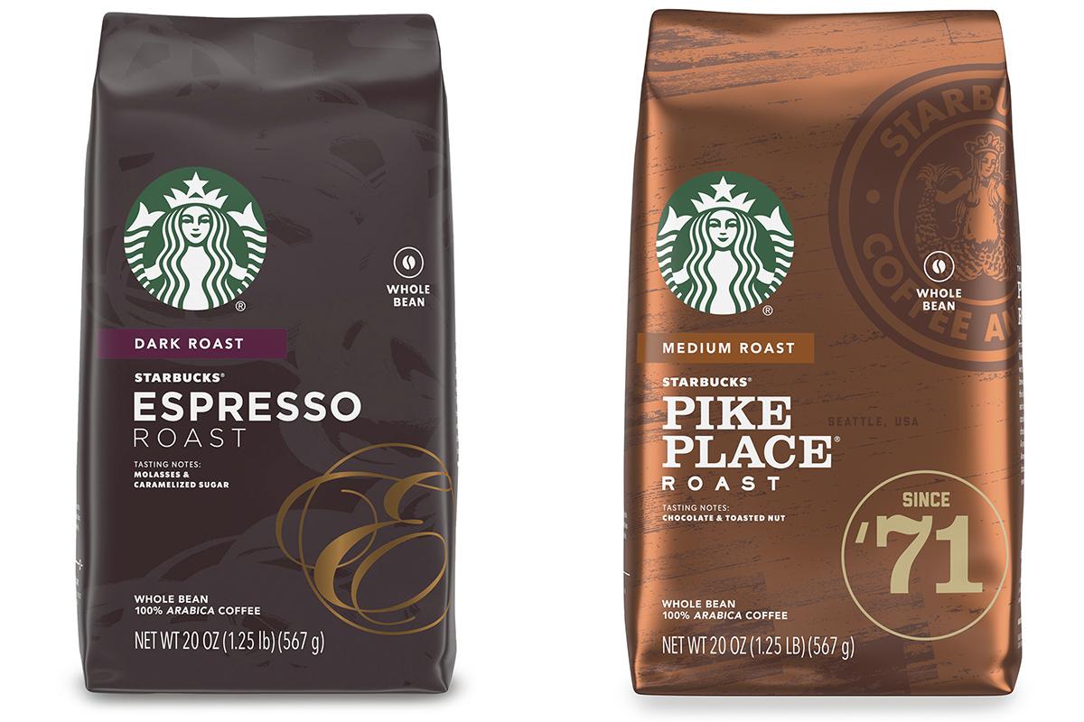שקיות פולי קפה אספרסו רוסט ופייק פלייס של סטארבקס. צילום: Starbucks